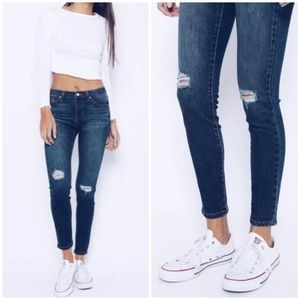 Denim - Frayed Ripped Knee Ankle Stretch Skinny Jeans